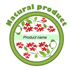 Label for natural product with red small flowers in green circle