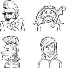 whiteboard drawing - rock musicians of various music genres