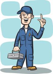 Cartoon plumber with toolbox