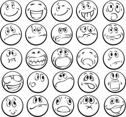 Coloring book of emotional faces
