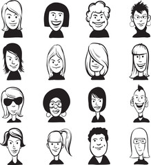 whiteboard drawing - set of doodle woman cartoon faces
