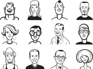 whiteboard drawing - collection of people cartoon faces