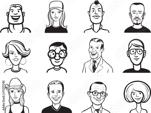 Whiteboard Drawing Collection Of People Cartoon Faces
