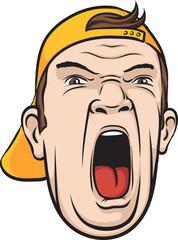 screaming man face