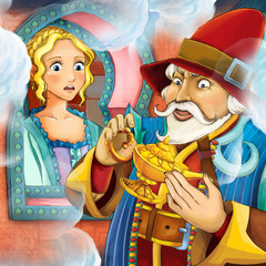 Cartoon fairy tale scene with a nobleman and a princess - illustration for the children