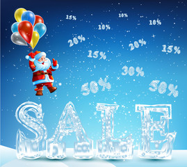 Santa Claus coming down on balloons for sales