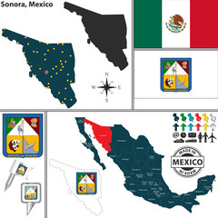 Map of Sonora, Mexico