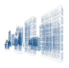 Drawings of skyscrapers and buildings