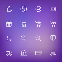 White thin line icons set for web and mobile on color background