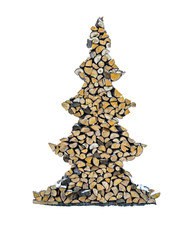Christmas tree made from firewood, isolated on white