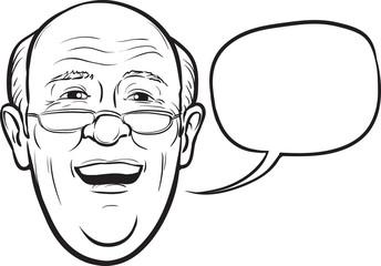 whiteboard drawing - laughing senior man