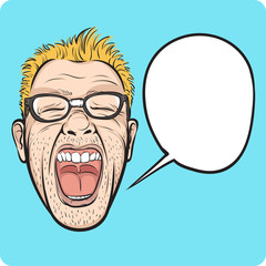 horror man face with speech bubble