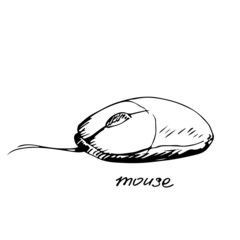 Hand drawn computer mouse. Vector illustration.