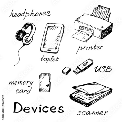 u0026quot hand draw computer devices  u0026quot  stock image and royalty