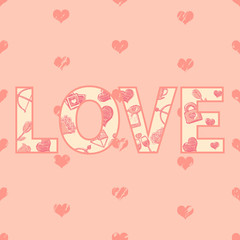 Vector Cartoon Word Love with Pattern