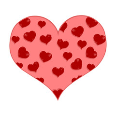Vector Cartoon Red Heart with Love Pattern Fill