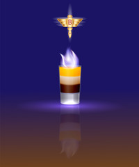 the illustration of the famous cocktail B-52