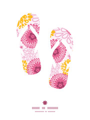 Vector pink field flowers flip flops silhouettes pattern frame