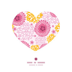 Vector pink field flowers heart silhouette pattern frame