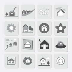 Vector Icon Grey Houses