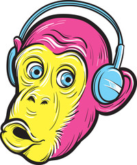 surprised monkey with headphones