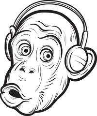 whiteboard drawing - surprised chimp with headphones