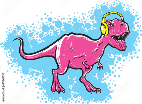 t-rex dinosaur with headphones