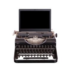 Typewriter with modern laptop screen