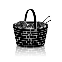 silhouette basket of rolls of yarn for knitting with reflection