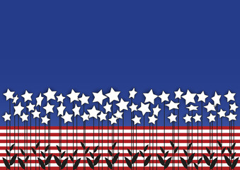star flowers combined with USA flag colors