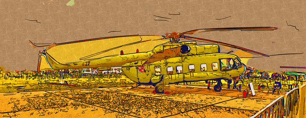 Military helicopter art design