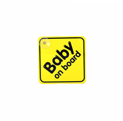 Baby on board sign on the white background