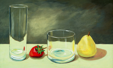 Still Life, pear and strawberry with glasses