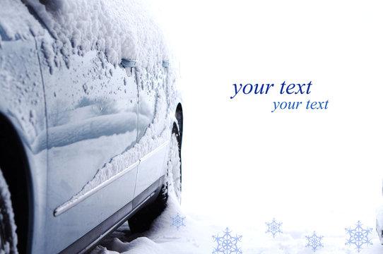 Auto im Schnee-Textfreiraum