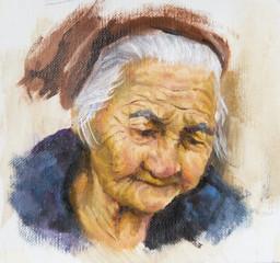 ritratto ad olio di una anziana signora