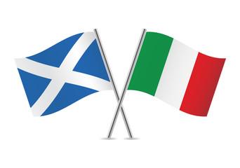 Scottish and Italian flags. Vector illustration.