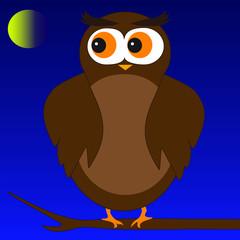 Cartoon Owl Sitting on a Tree Branch