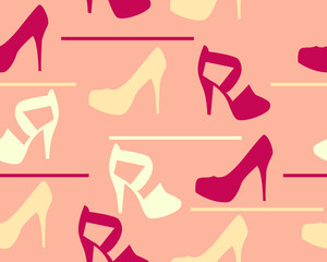 Background shoes and sandals. Vector seamless