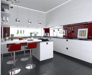 moderne Küche mit roten Akzenten