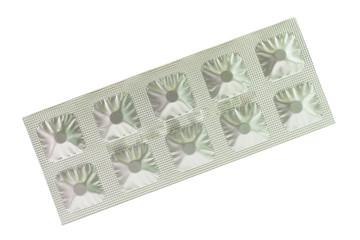 Aluminum blister foil on white background