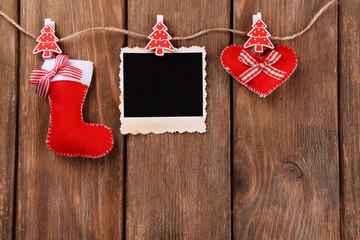Blank photo frame and Christmas decor