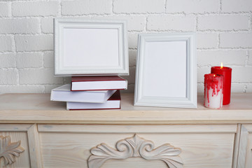 Photo frames with candles
