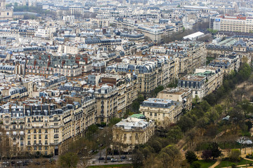 Paris, France. A city landscape from the Eiffel Tower