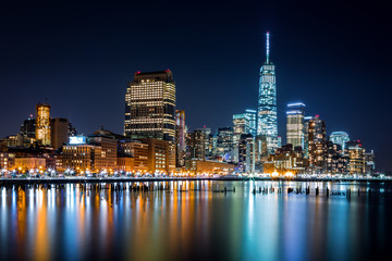 Fototapete - Lower Manhattan by night