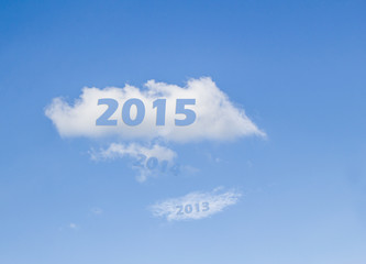 year 2015 on white cloud after 2013-2014