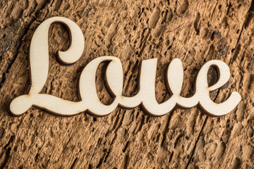 carved love on wooden surface