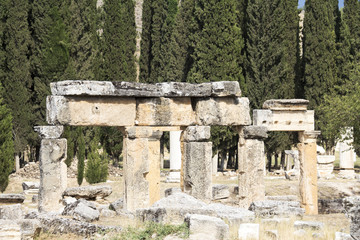Ruins of the ancient city of Hierapolis summer time,Turkey