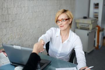 Successful businesswoman make contract