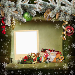 Christmas background with frame, beautiful Christmas decorations