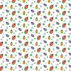 Vector seamless pattern background. With ladybugs and dots.